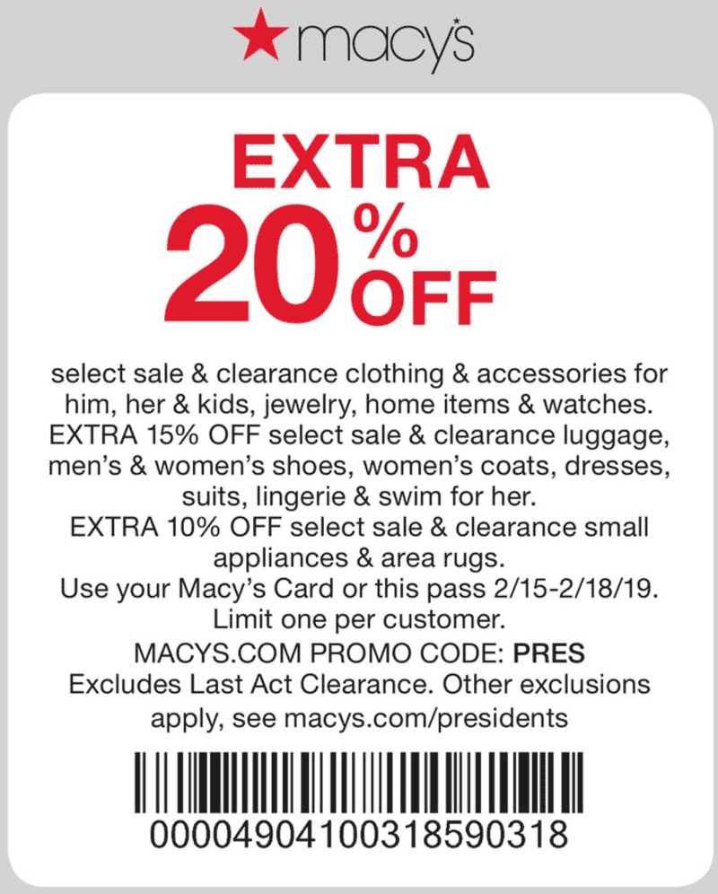 Macys Coupon July 2020 Extra 20% off at Macys, or online via promo code PRES