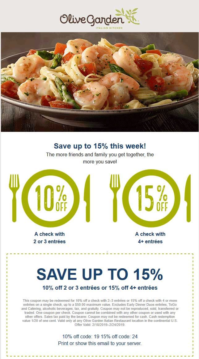 Olive Garden coupons & promo code for [October 2020]