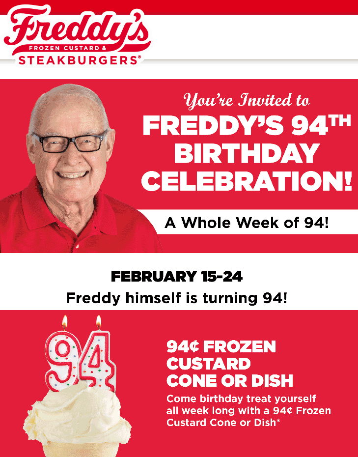 Freddys Coupon July 2020 .94 cent frozen custard at Freddys restaurants