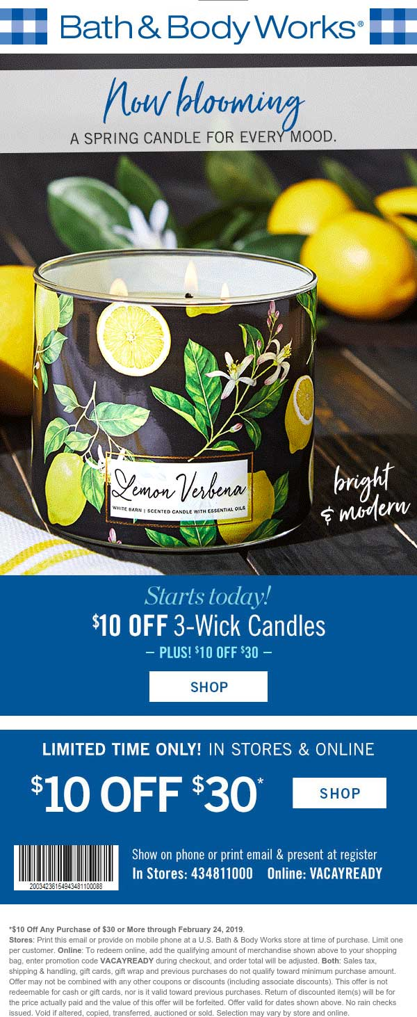 Bath & Body Works Coupon July 2020 $10 off $30 at Bath & Body Works, or online via promo code VACAYREADY