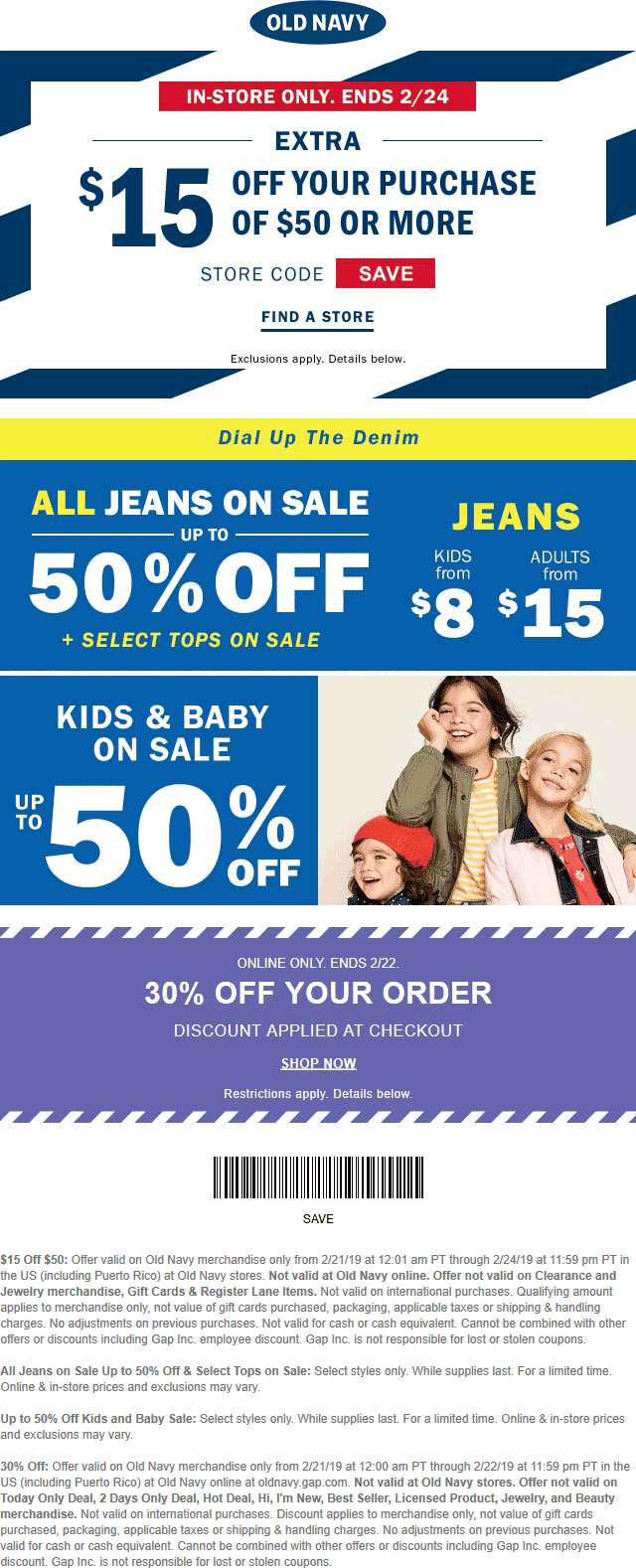 Old Navy Coupon February 2020 $15 off $50 at Old Navy, or 30% online