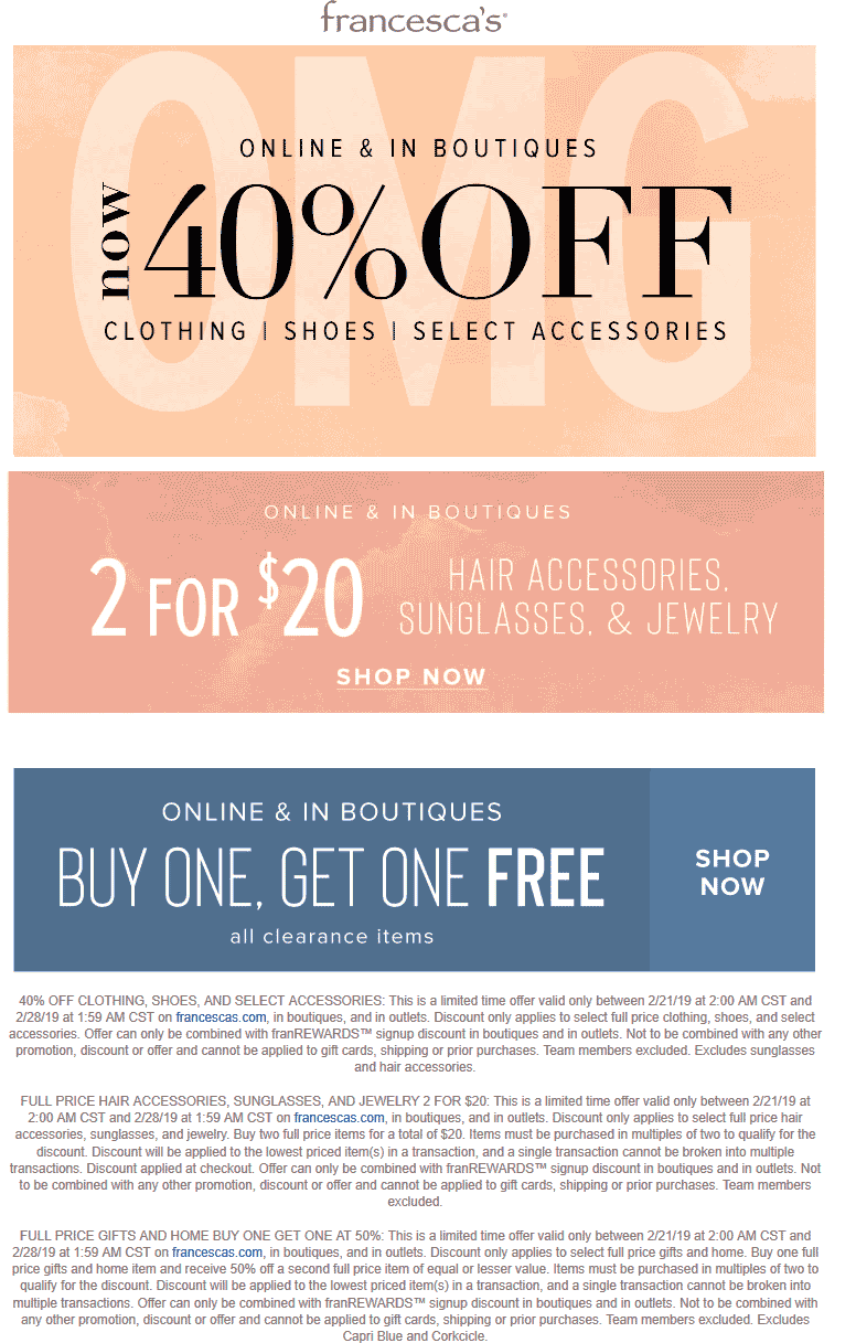 Francescas coupons & promo code for [April 2020]