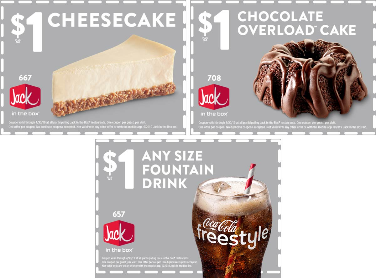Jack in the Box Coupon February 2020 $1 cheesecake & more at Jack in the Box restaurants