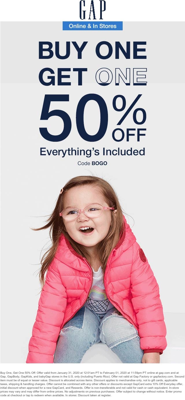 Gap coupons & promo code for [February 2020]