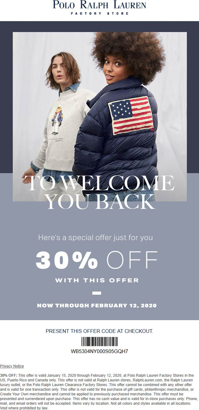 Polo Ralph Lauren Factory coupons & promo code for [November 2020]