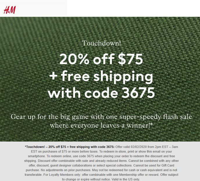H&M coupons & promo code for [February 2020]