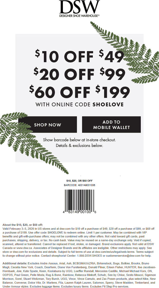 DSW coupons & promo code for [May 2021]
