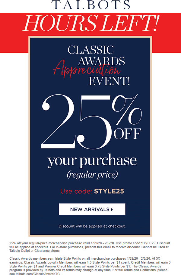 Talbots coupons & promo code for [February 2021]