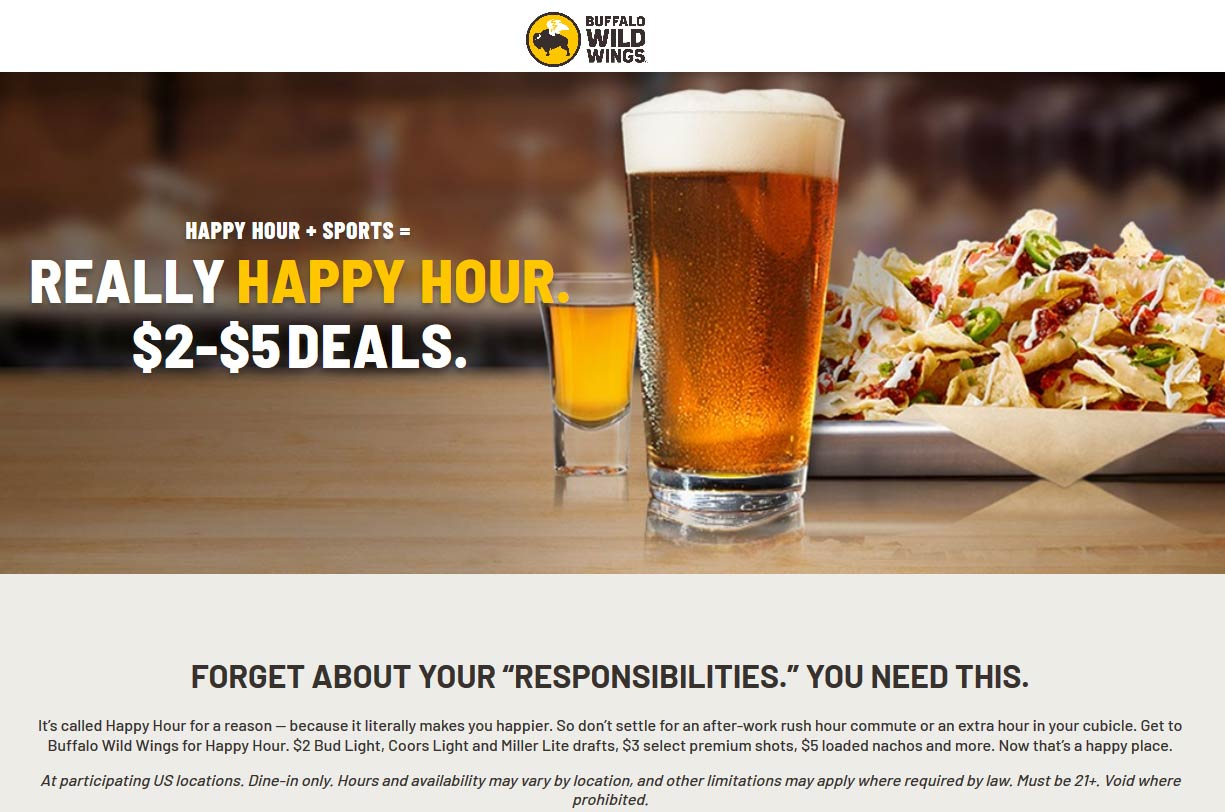 Buffalo Wild Wings coupons & promo code for [September 2020]