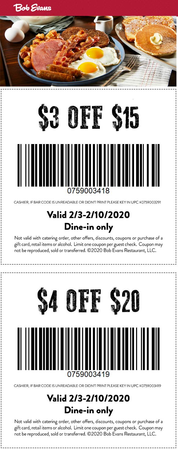Bob Evans coupons & promo code for [October 2020]
