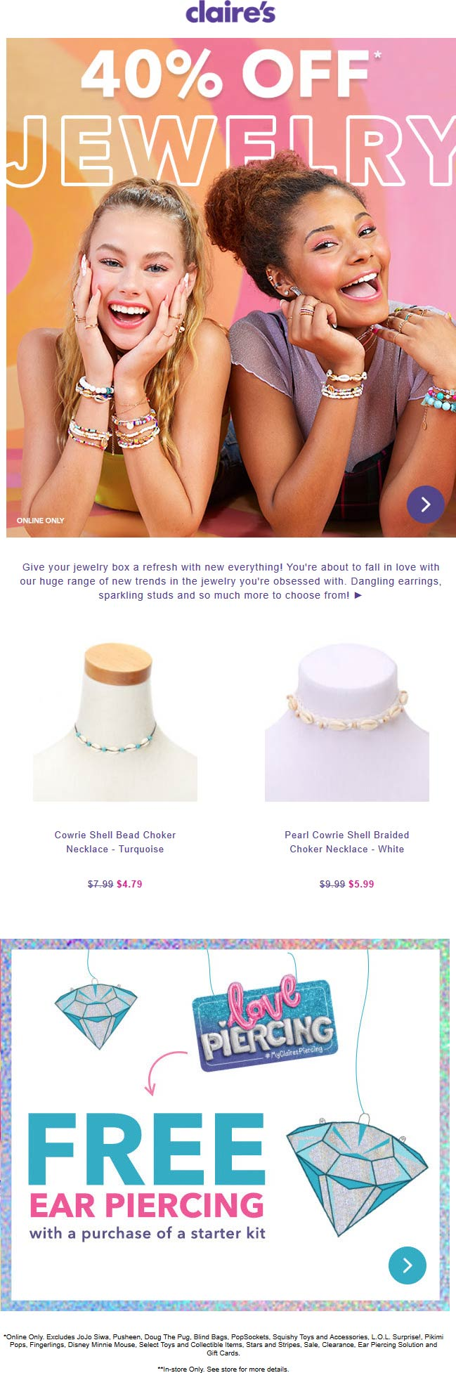 Claires coupons & promo code for [April 2020]