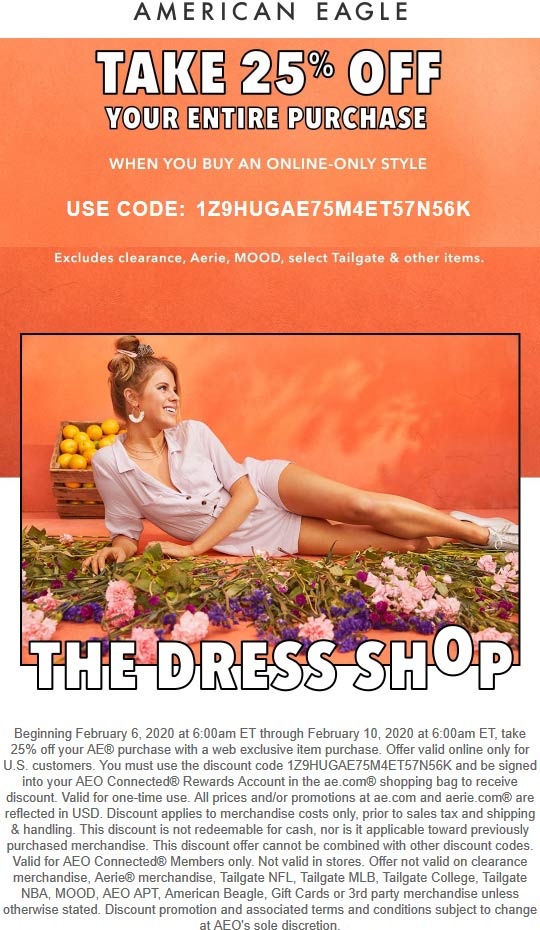 American Eagle coupons & promo code for [April 2020]