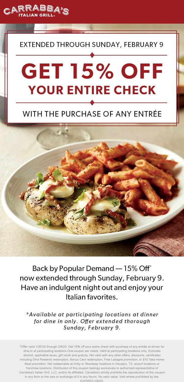 Carrabbas coupons & promo code for [July 2020]