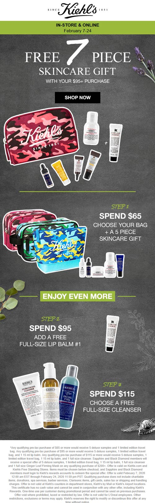 Kiehls coupons & promo code for [February 2020]