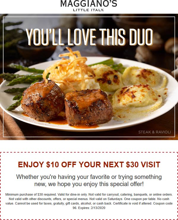 Maggianos Little Italy coupons & promo code for [January 2021]