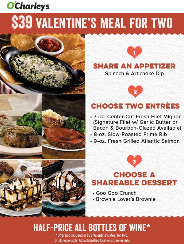 OCharleys coupons & promo code for [September 2020]
