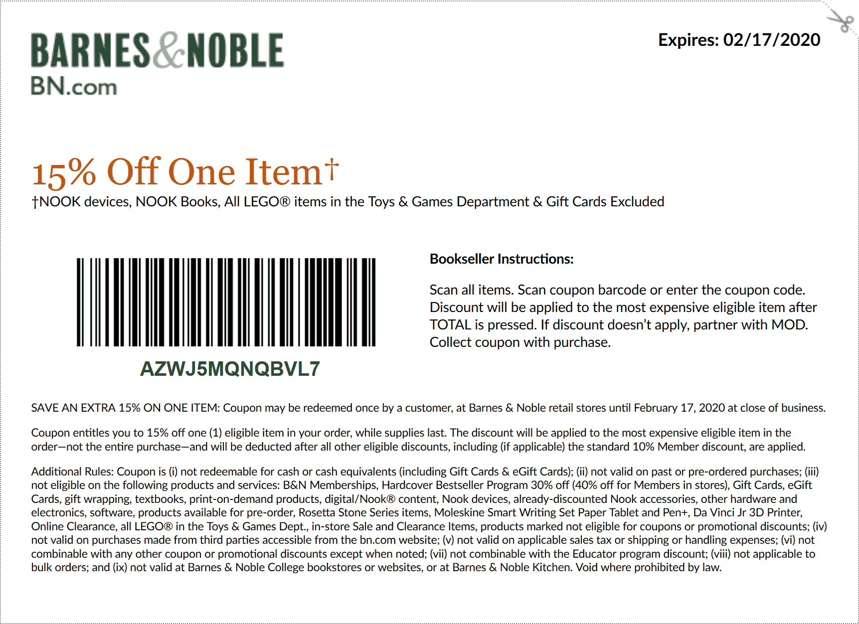 Barnes & Noble coupons & promo code for [February 2020]