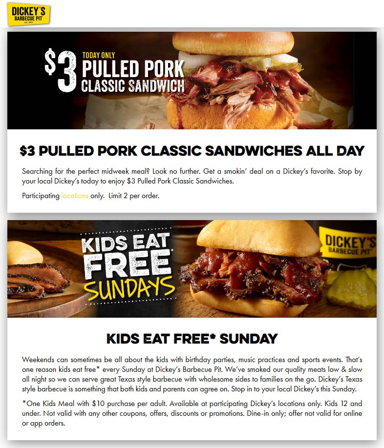 Dickeys Barbecue Pit coupons & promo code for [April 2021]