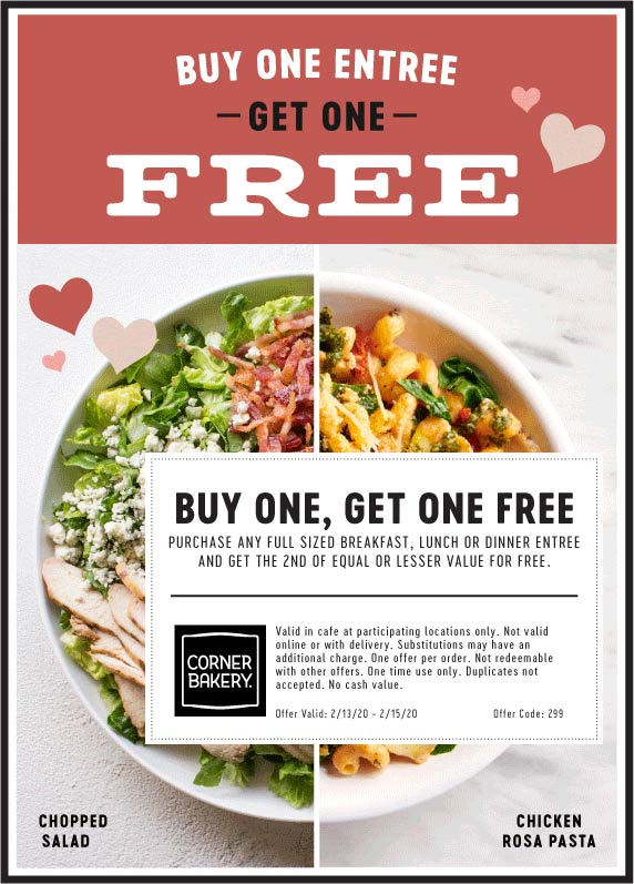 Corner Bakery coupons & promo code for [February 2020]