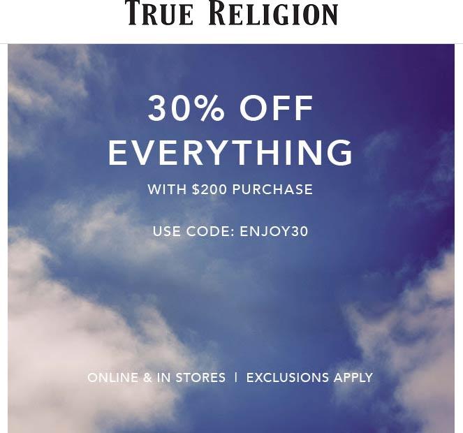 True Religion coupons & promo code for [February 2020]