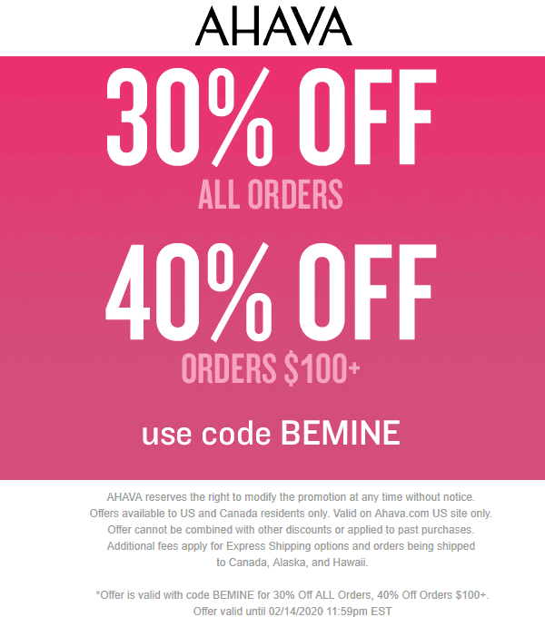 AHAVA coupons & promo code for [April 2020]