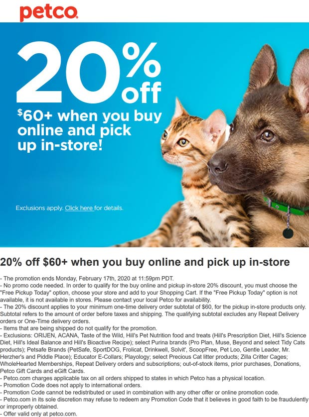 Petco coupons & promo code for [October 2020]