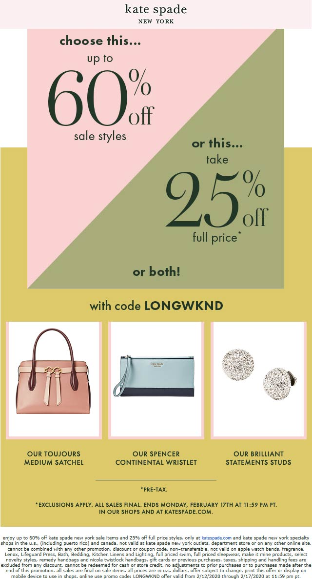 Kate Spade coupons & promo code for [July 2020]