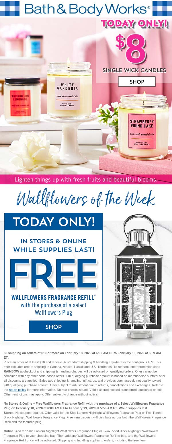 Bath & Body Works coupons & promo code for [December 2020]