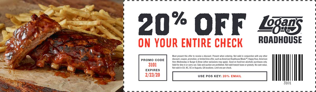 Logans Roadhouse coupons & promo code for [December 2020]