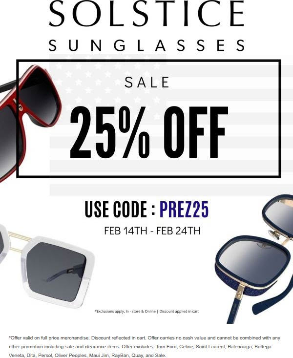 Solstice Sunglasses coupons & promo code for [July 2020]