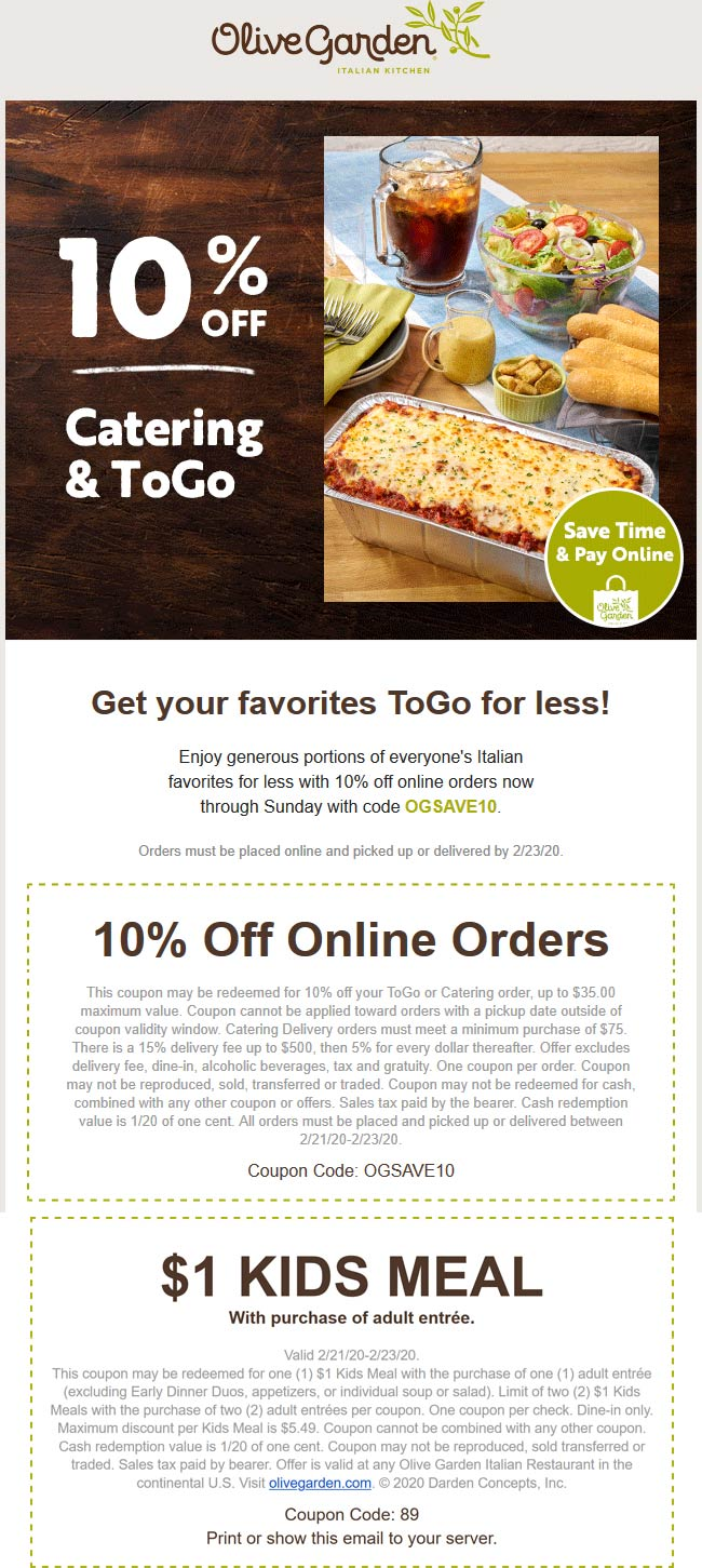 Olive Garden coupons & promo code for [May 2021]