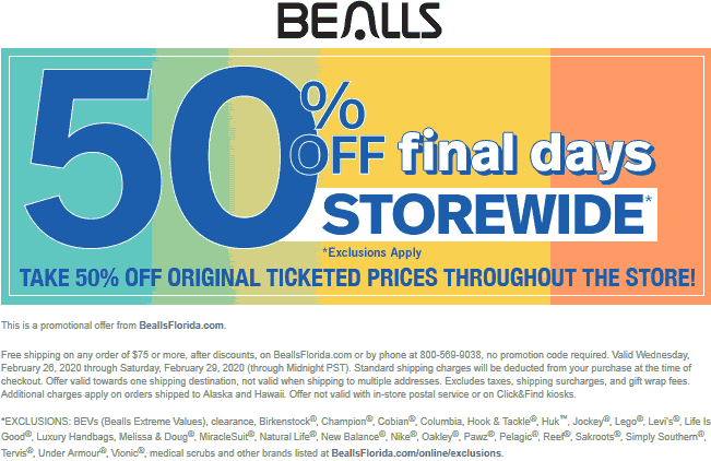 Bealls coupons & promo code for [July 2020]