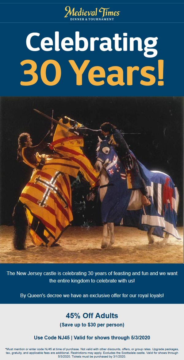 Medieval Times coupons & promo code for [April 2020]
