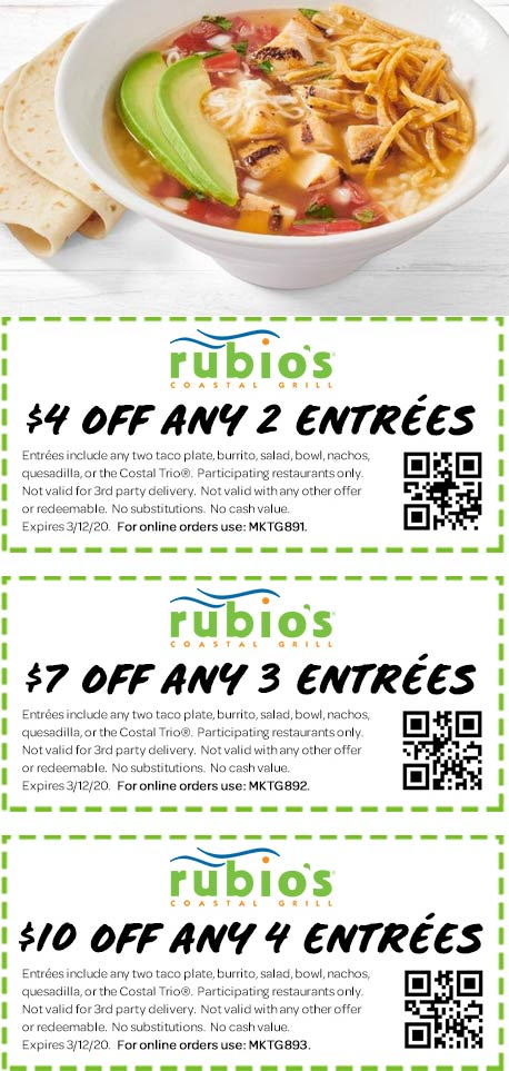 Rubios coupons & promo code for [July 2020]