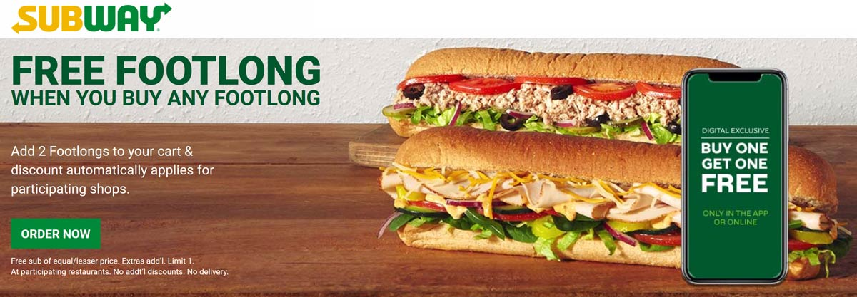 Subway coupons & promo code for [April 2020]