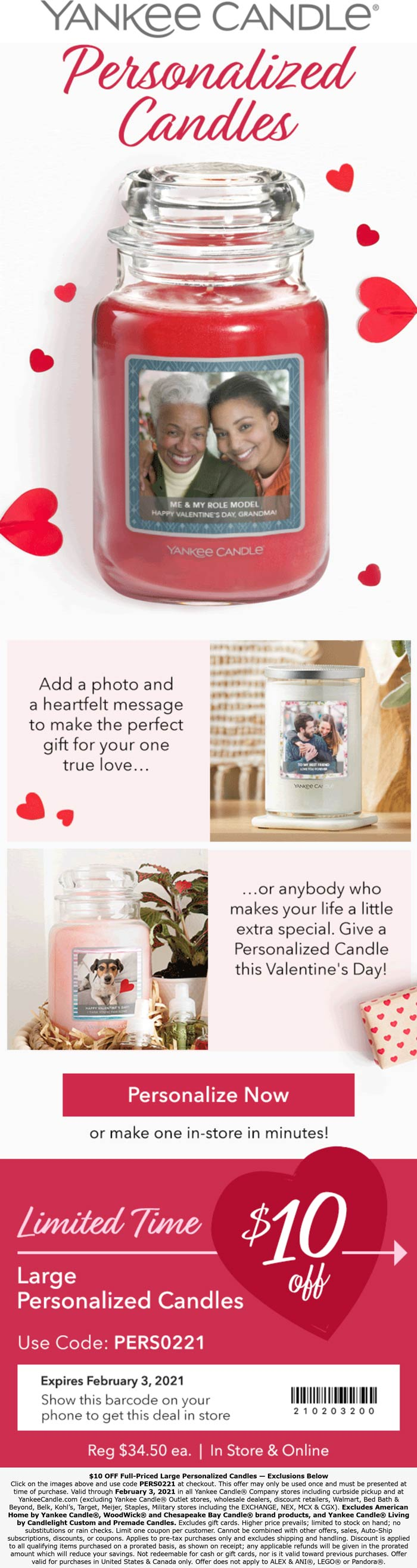Yankee Candle stores Coupon  $10 off personalized candle today at Yankee Candle, or online via promo code PERS0221 #yankeecandle