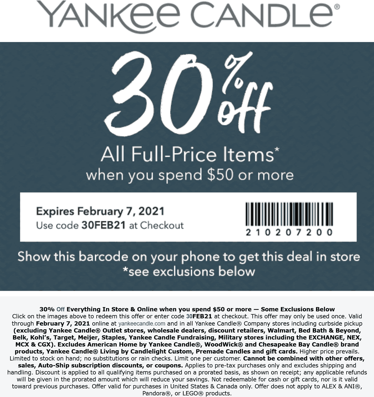 Yankee Candle stores Coupon  30% off $50 at Yankee Candle, or online via promo code 30FEB21 #yankeecandle