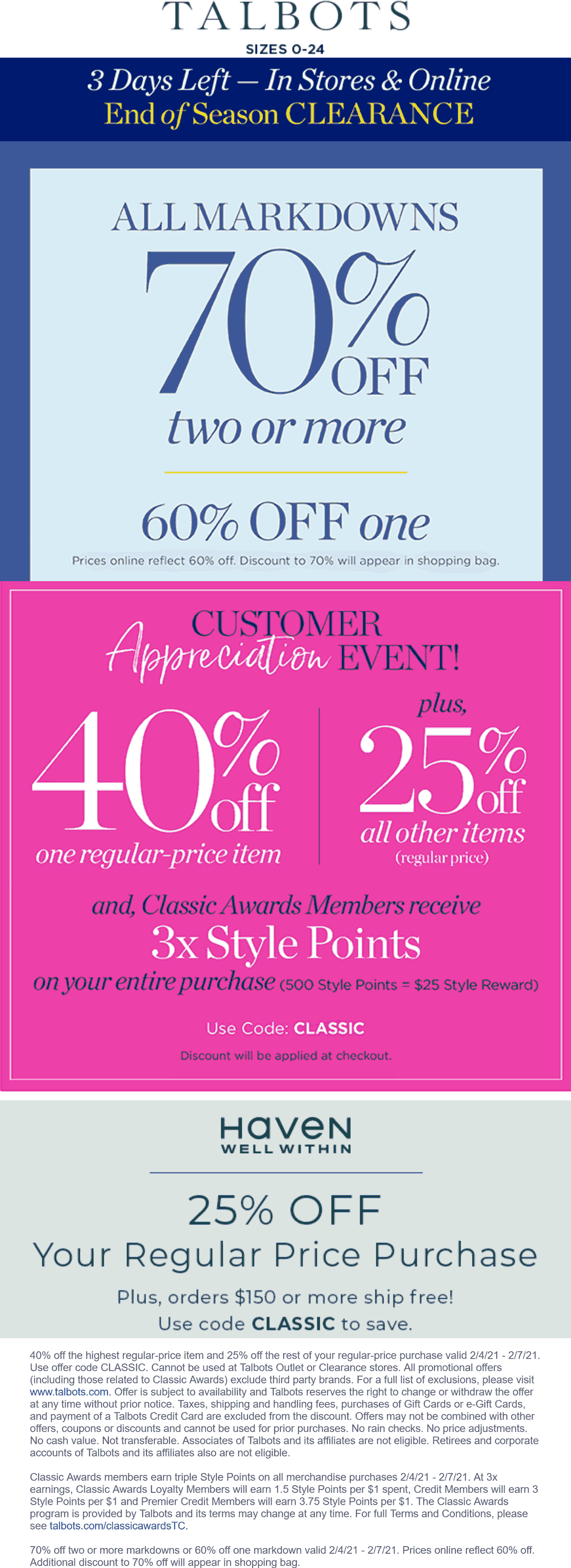 Talbots stores Coupon  40% off a single item & more at Talbots, or online via promo code CLASSIC #talbots