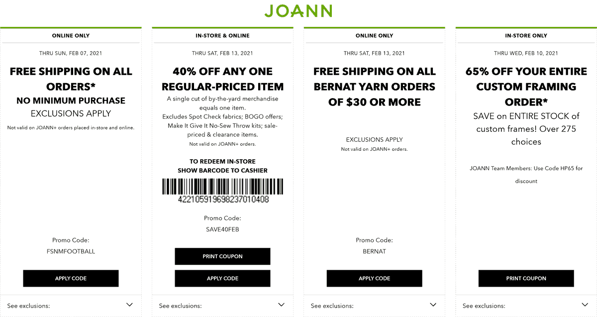 Joann stores Coupon  40% off a single item at Joann, or online via promo code SAVE40FEB #joann