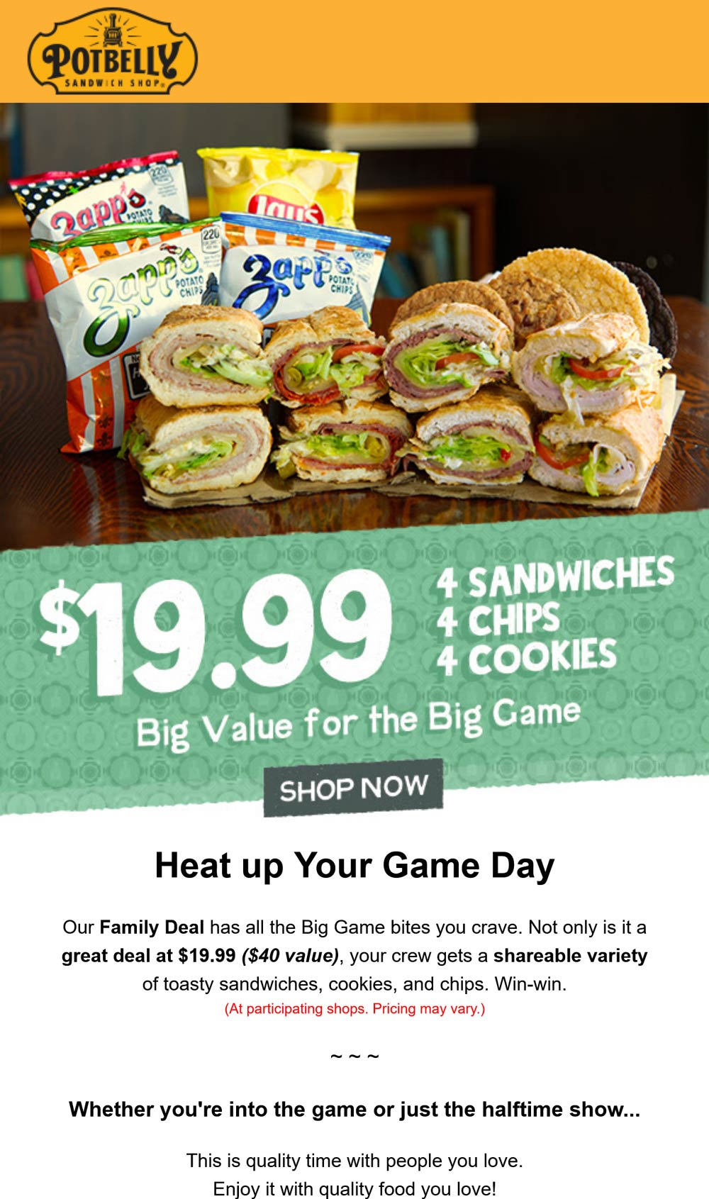 Potbelly restaurants Coupon  4 sandwiches + 4 chips + 4 cookies = $20 today at Potbelly Sandwich Shop #potbelly