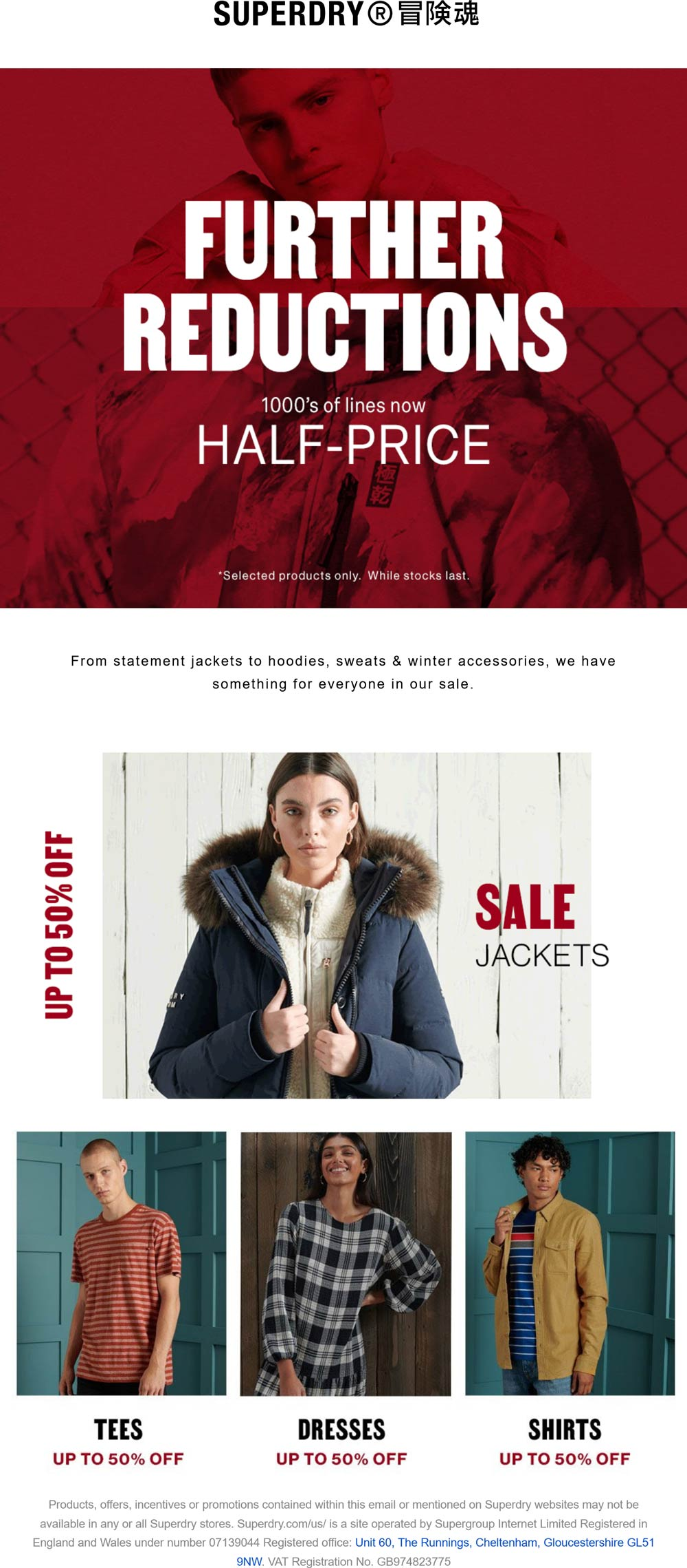 Superdry stores Coupon  50% off thousands of lines at Superdry #superdry