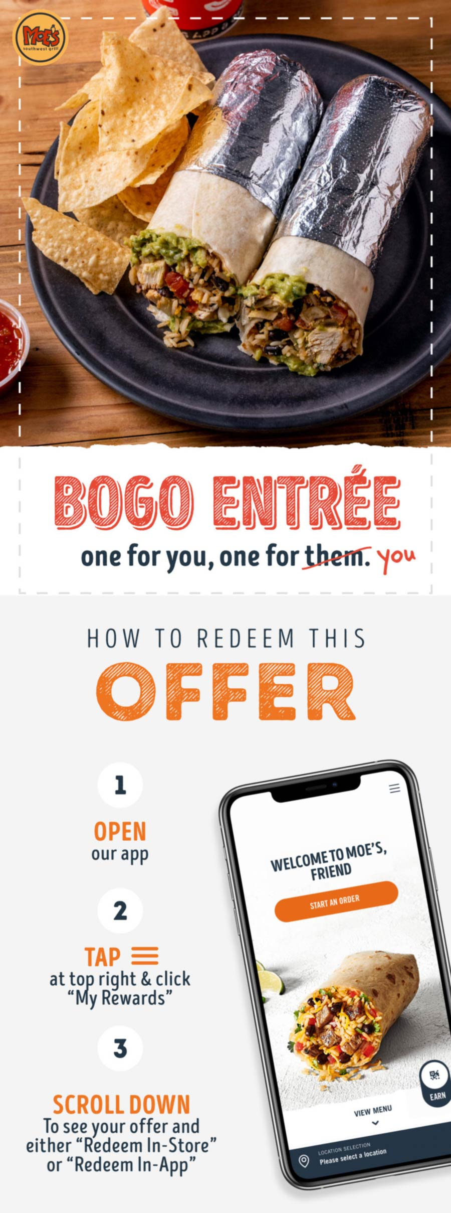 Moes Southwest Grill restaurants Coupon  Second entree free for rewards members at Moes Southwest Grill #moessouthwestgrill