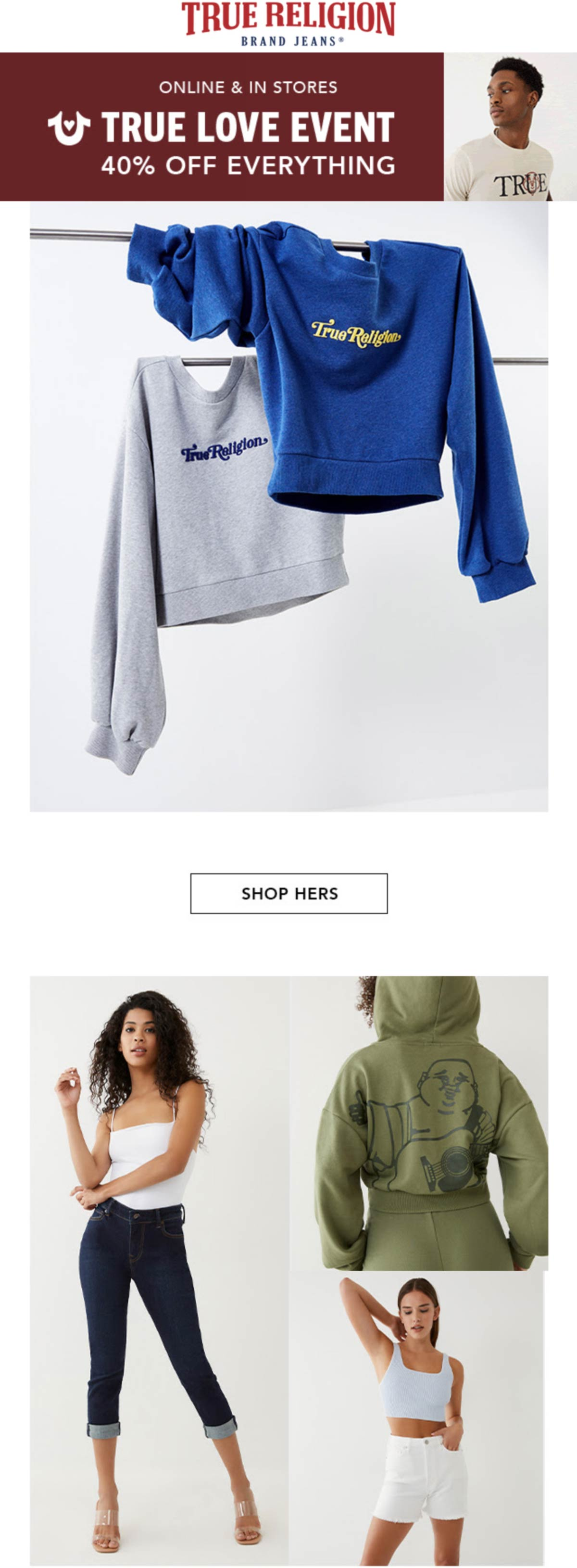 True Religion stores Coupon  40% off everything at True Religion, ditto online #truereligion