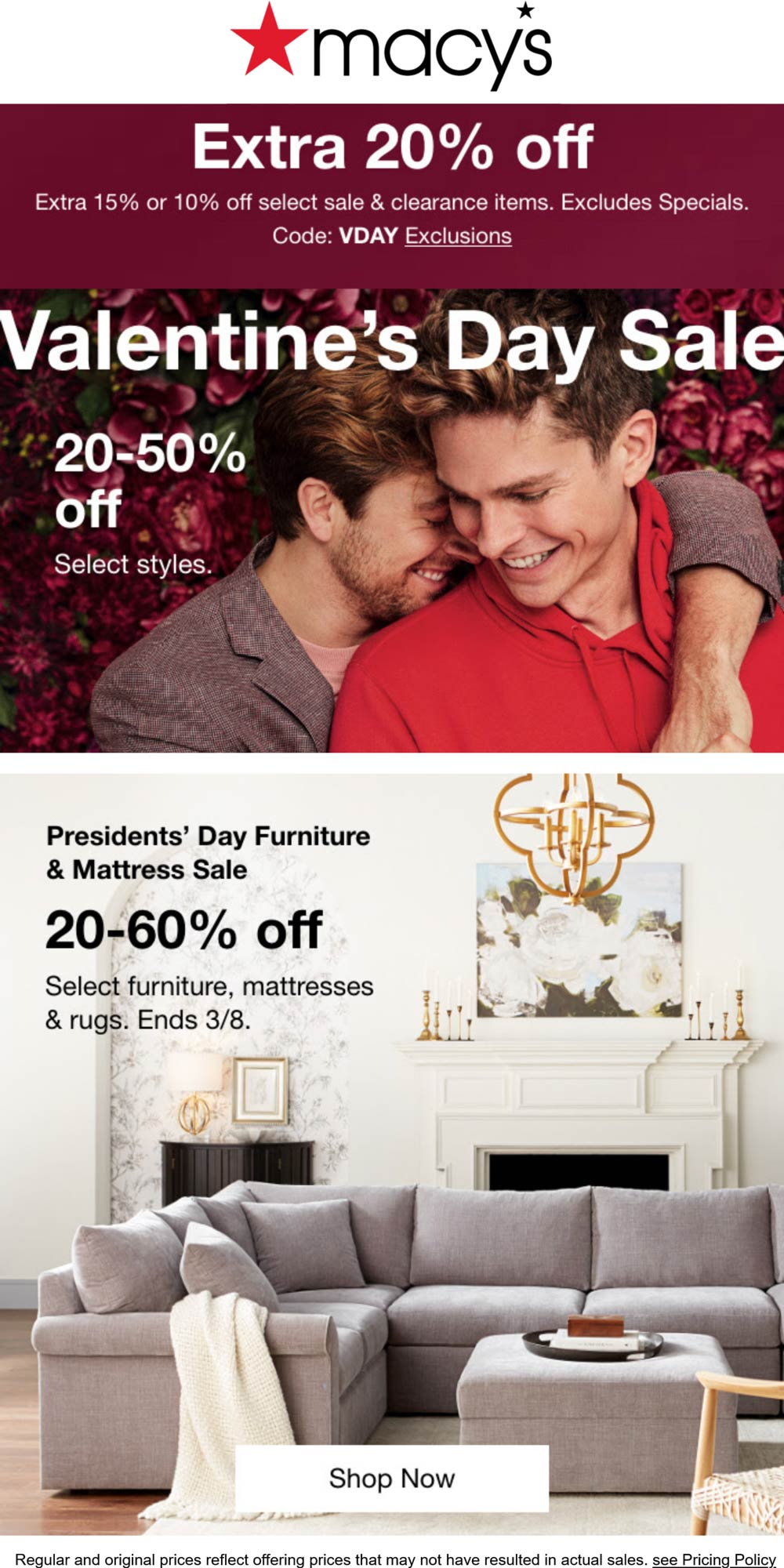 Macys stores Coupon  Extra 20% off at Macys, or online via promo code VDAY #macys