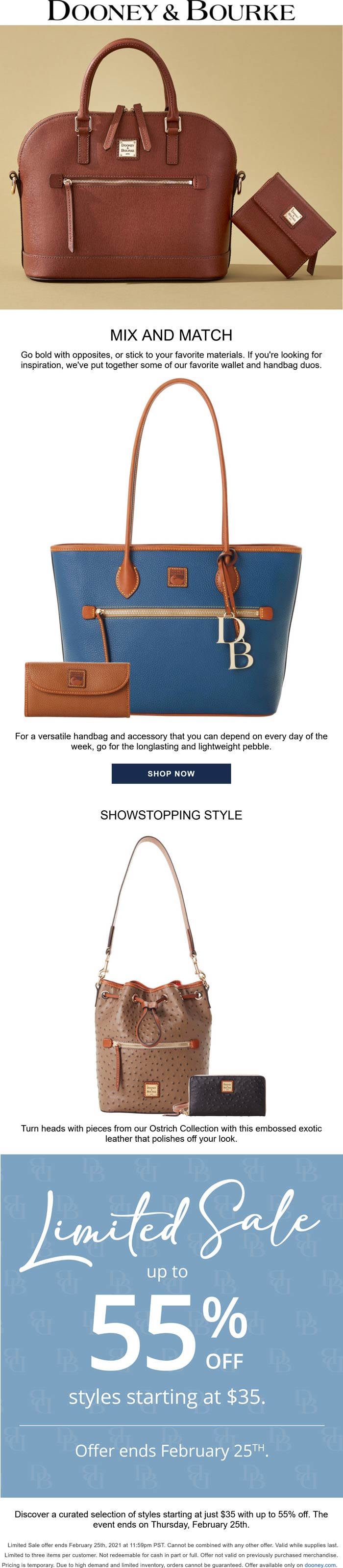Dooney & Bourke stores Coupon  Starting at $35 sale going on at Dooney & Bourke online #dooneybourke