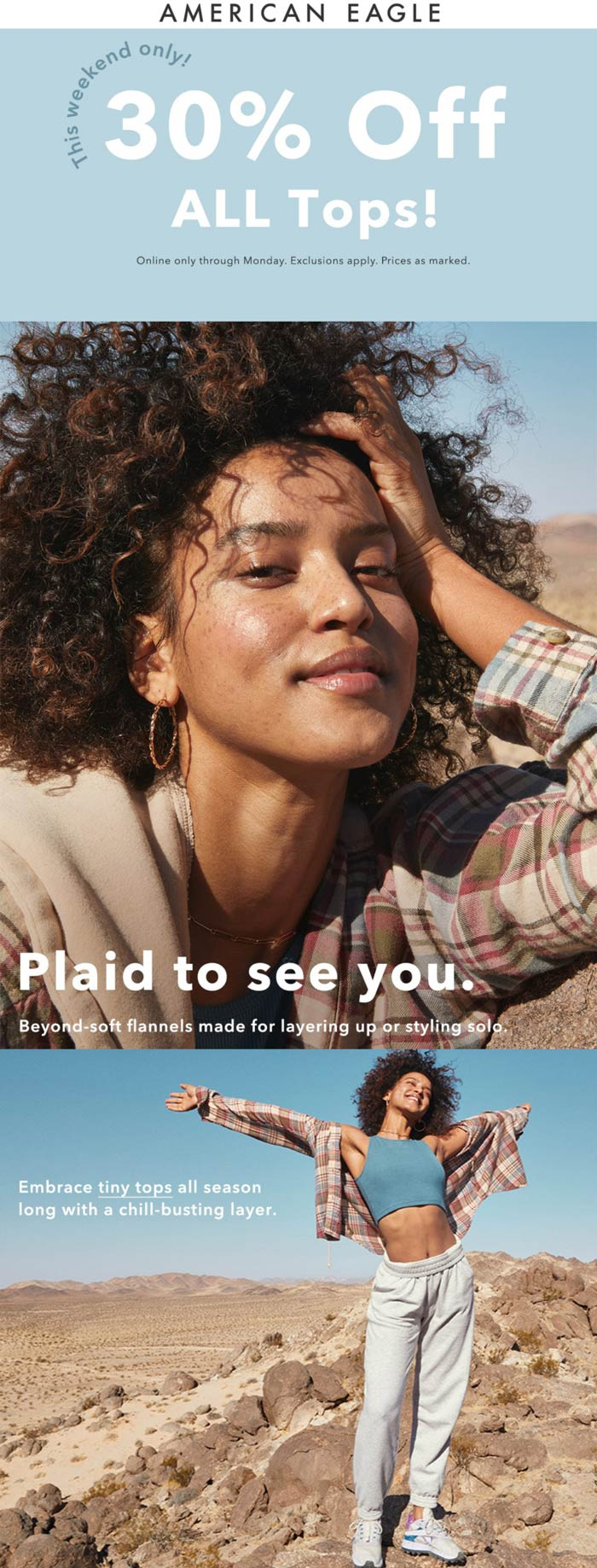 American Eagle stores Coupon  30% off all tops online at American Eagle #americaneagle