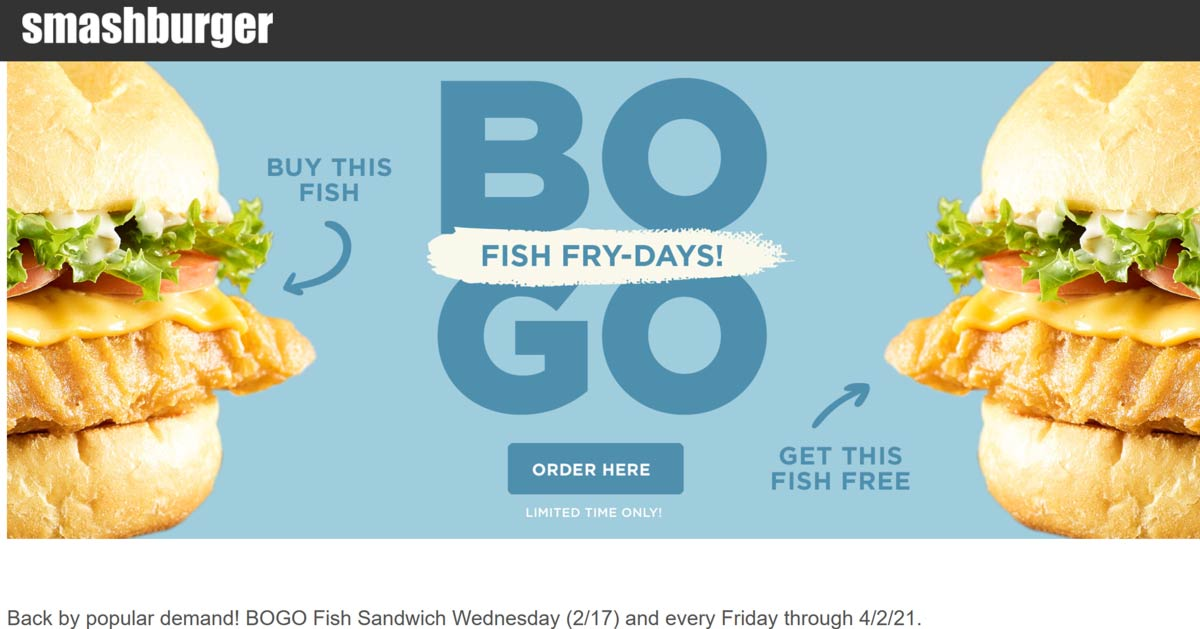 Smashburger restaurants Coupon  Second fish sandwich free Fridays at Smashburger #smashburger