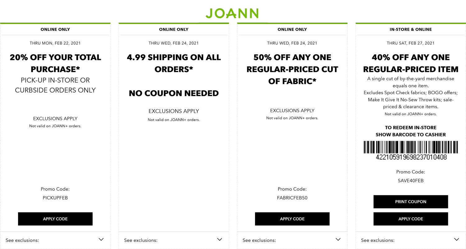 Joann stores Coupon  40% off a single item & more at Joann, or online via promo code SAVE40FEB #joann