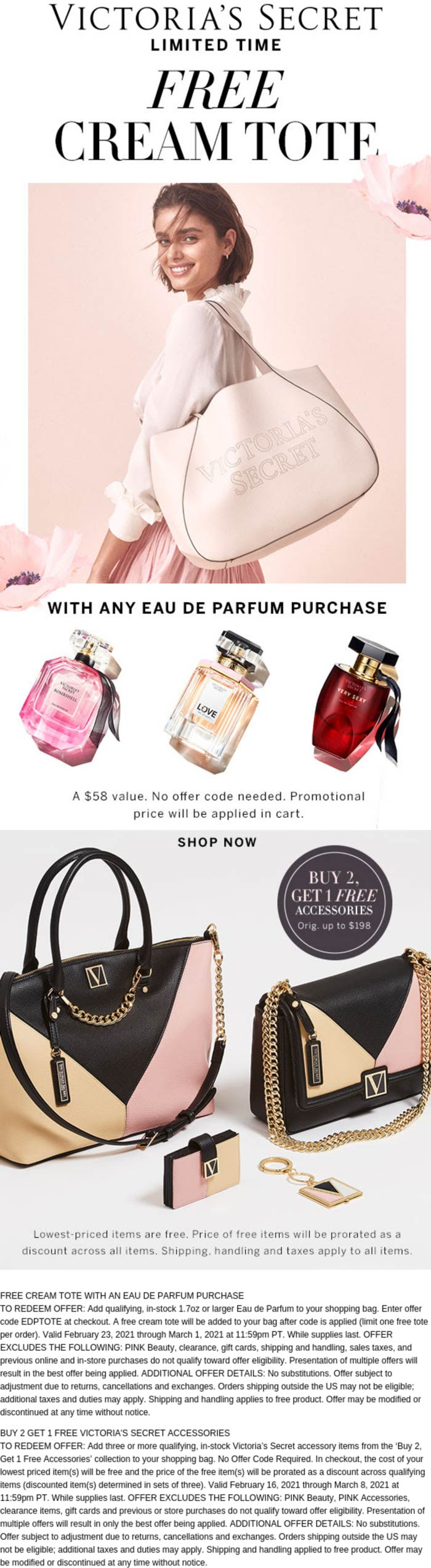 Victorias Secret stores Coupon  Free $58 tote with your parfum & more at Victorias Secret #victoriassecret
