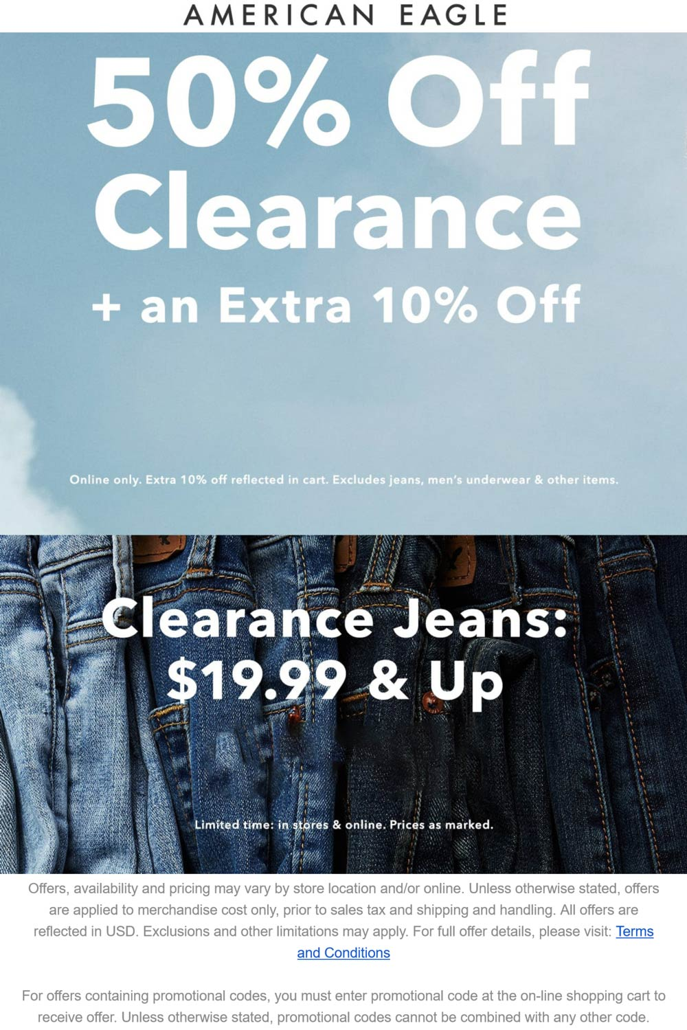 American Eagle stores Coupon  60% off clearance today at American Eagle #americaneagle